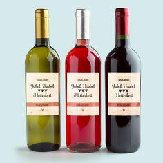 Hochzeitsaufkleber - Retro-Flaschenetiketten für Weinflaschen hier bestellen