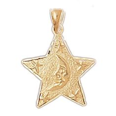 NEW 14k YELLOW GOLD MOON & STAR CELESTIAL CHARM PENDANT NECKLACE JEWELRY
