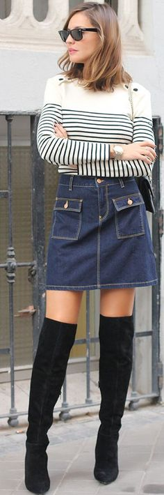 Stripes On Denim Fall Street Style Inspo by LadyAddict