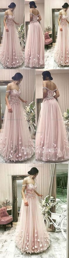 Off Shoulder Pink Elegant Formal Pretty Unique New Arrival Charming Floor-Length Prom Dresses, PD0472