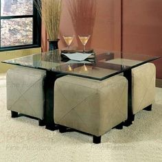 coffee table ottoman with seating   Glass Coffee Table and 4 Ottoman Storage Cube Seating...LOVE