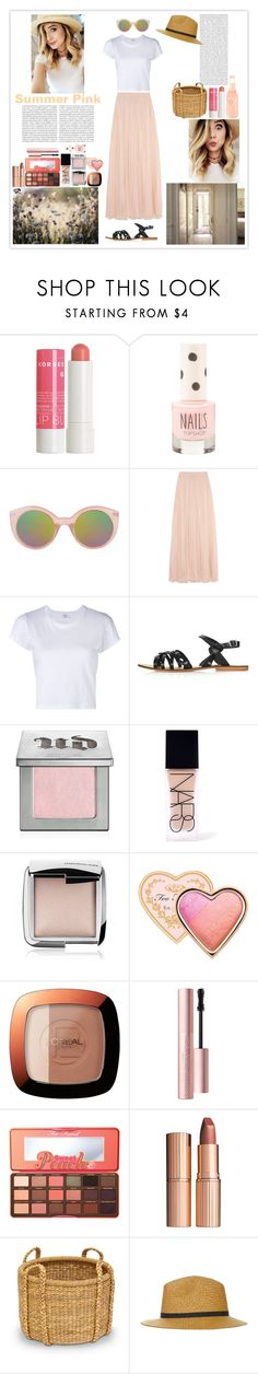 """""""Summer Pink"""" by silly-stegosaurus ❤ liked on Polyvore featuring Korres, Topshop, Needle & Thread, RE/DONE, Urban Decay, NARS Cosmetics, Hourglass Cosmetics, Too Faced Cosmetics, L'Oréal Paris and Charlotte Tilbury"""