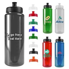 """Custom Printed 32 Oz Transparent Color Bottles: Available Colors: Clear, Transparent Green, Transparent Smoke, Transparent Blue, Transparent Red. Lid Colors: Black, Orange, Royal Blue, Violet, Yellow, Green, Red, Teal, White, Natural Product Size: 3-1/4"""" D x 9-3/4"""" T. Imprint Area: 5"""" H x 4"""" W - Side Carton Weight: 22 lbs. Product Packaging: 100 pieces. Material: Polyethyene Terepthalate. Made In: USA. #customwaterbottle #promotionalproduct #summerproducts"""