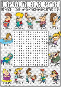 6th Grade English, English Day, English Verbs, Kids English, English Grammar Worksheets, Verb Worksheets, English Games, English Activities, Education English