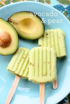 Avocado Pear Pops or Baby Food Pops puree: 2 avocado 2 pear (skin removed)  Fill the molds half way, insert sticks, and freeze.  I soaked in hot water for a minute to remove the pops from the mold.