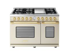 Range DECO 48'' Classic Cream matte, Gold Trim, 6 gas, griddle and 2 gas ovens with the main cavity equipped with 2 convection fans and broiler. Also available in Dual Fuel option with self-cleaning capabilities.