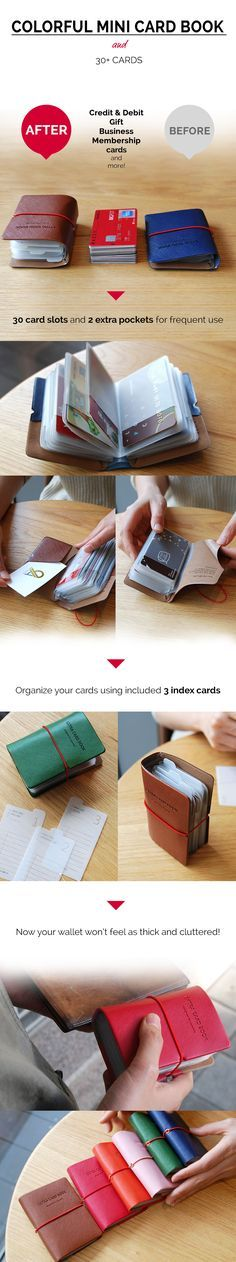 Neat! Exactly what I need for all my credit & debit, gift, business, and membership cards! I can even hold my bus tickets, movie stubs, coupons, receipts, and memorable Instax Mini photos! This super cute & sturdy card book has 6 awesome, bold colors I can choose from! It even comes with 3 helpful organizer index cards to help me get started! Now my wallet won't feel as thick and cluttered thanks to 30 total card slots in this unique & useful storage book! Experience it too at…