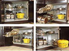 Organize pots/pans cabinet with Rev-a-shelf products available at Home Depot/Lowe's