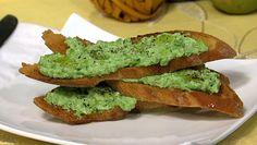 the chew | Recipe  | Michael Symon's Ricotta, Pea, And Mint Bruschetta    http://beta.abc.go.com/shows/the-chew/recipes/Ricotta-Pea-Mint-Bruschetta-MIchael-Symon