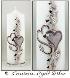 Hochzeitskerze DW 527 in taupe von  Kerzenkunst -  Kreatiwita auf DaWanda.com