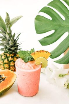 Watermelon papaya rum smoothie | via Sugar & Cloth