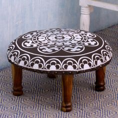 Seesham Wood Cotton Rayon 'Monochrome Jaipur' Foot Stool (India) - Overstock™ Shopping - Top Rated Novica Ottomans