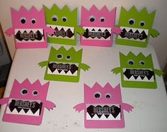 monster candy treats (halloween colors, though and Stampin' Up! punches to  make different kinds of monster faces.