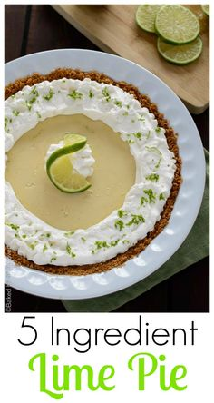 This 5 ingredient lime pie features the perfect balance between sweet and tart with a cool, creamy texture. | @introvertbaker at bakedbyanintrovert.com