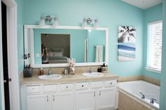 master bathroom redo - paint is waterfall by Benjamin Moore