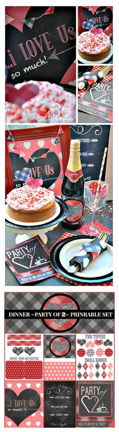 Super cute PRINTABLES to have the perfect dinner for two: invitation, menu card, bottle wrap, heart printable, coasters, food toppers, small banner and more! ADORABLE #valentines