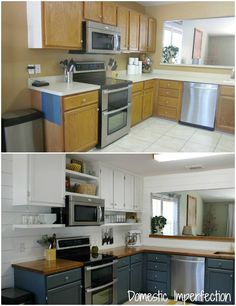Two toned cabinets valspar cabinet enamel from lowes successful my painted kitchen cabinets five years later diy solutioingenieria Image collections