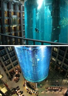 """Ferré I found our next vacation spot: in Berlin, Germany. The """"AquaDom"""" found in the Radisson Blu hotel, Sea of Berlin is said to contain around 2600 fish from 56 different species. The hotel elevator travels through the center of it! Dream Vacations, Vacation Spots, Places To Travel, Places To See, Beautiful World, Beautiful Places, Beautiful Fish, Hotels, Before I Die"""