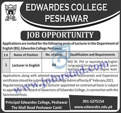 #edwardescollegeeshawarjobs #teachingjobsinpeshawar2021 #teachingjobsinkpk Edwardes College Peshawar Cantt KPK is seeking qualified and experienced candidates to fill the English Lecturer Jobs in Peshawar 2021. Male/Female candidates from across the Khyber Pakhtunkhwa can apply. MS/M.Phil degree with 2 years of teaching experience are the requirements of these Private Jobs in Pakistan 2021.