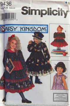 """Simplicity 9436 Child's Dress and Doll Dress for 18"""" Doll"""