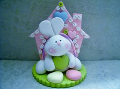 Bunny - Hearts - Polymer Clay - Valentine's Day - Easter - Figurine