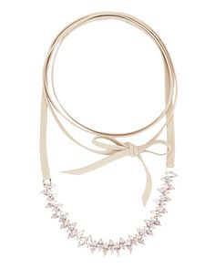 Fallon Jagged Edge Crystal/Leather Choker: Rosegold: Jagged edge marquise-shaped white cubic zirconia set in polished rosegold-tone brass details the center on this 71 length self tie white leather strap ...
