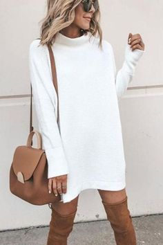 efbe7947bb High Neck Plain Long Sleeve Sweaters No reviews. Winter Dress OutfitsWhite  ...