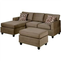 reversible 3piece sectional sofa set in saddle color microfiber