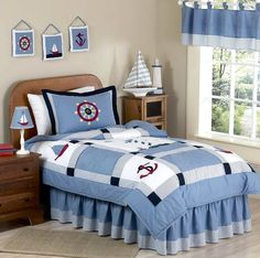 Sweet Jojo Designs Come Sail Away Nautical Children's and Kids Full / Queen Boys Bedding Set - Best Selling Sets Twin Size Bed Sets, Queen Size Comforter Sets, Kids Comforter Sets, Boy Bedding, King Comforter, Quilt Bedding, Nautical Theme Bedrooms, Nautical Bedding, Anchor Bedding