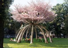 Visiondivision's 'The Patient Gardener' dome made from trees   If the Sycamore in the back ever goes, I would love to do something like this instead.