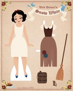 snow white paper doll 1   paper dolls by cory