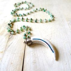 """36"""" Double Wrap Green Chrysoprase Beaded Rosary Necklace with Tibetan Horn Pendant by 137point5"""