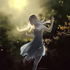 Dance with the wind by Yuumei art Fantasy Kunst, Fantasy Art, Kaori Anime, Character Inspiration, Character Art, Yuumei Art, Animation, Photoshop Brushes, Anime Art Girl