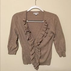 Cardigan (can fit S!) Barely worn! So soft! Fits a bit more like a small but would look fine a bit loose on someone who wears an XS. Ruffles add great detail to this classic sweater and any outfit! Ruffles look great even when the sweater is worn open. Thanks for shopping my closet💕 New York & Company Sweaters Cardigans