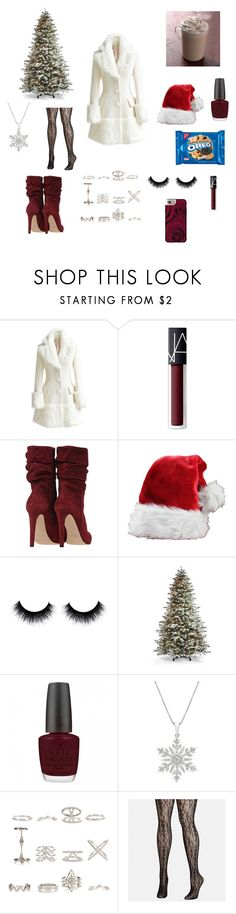 """Walking in a winter wonderland"" by jessiestarman ❤ liked on Polyvore featuring WithChic, NARS Cosmetics, Frontgate, OPI, New Look, Avenue, Casetify, Christmas, white and snow"