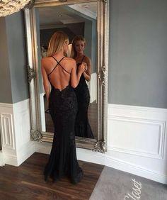 Black Prom Dresses,Mermaid Prom Dress,Lace Prom Dress,Backless Evening Gowns, Blue Prom Dress, Charming Prom Dress