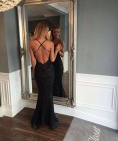 Black Prom Dresses,Mermaid Prom Dress,Lace Prom Dress,Backless Evening Gowns, Blue Prom Dress, Charming Prom Dress