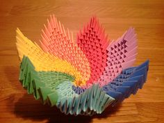 How to make 3d origami Rainbow Spiral Bowl