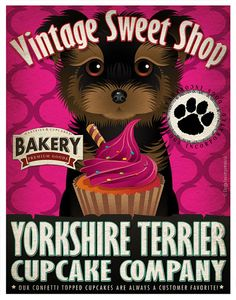 Yorkie+Cupcake+Company+Original+Art+Print++by+DogsIncorporated,+