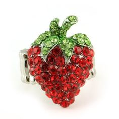 Strawberry Fruit Ring Silver Tone Red Green Stone Crystal Adjustable Jewelry NEW Soulbreezecollection, http://www.amazon.com/dp/B008402GPA/ref=cm_sw_r_pi_dp_qk7brb1R47P55