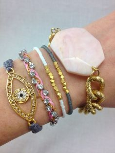 Pretty In Pink Stacked Bracelet Set by dAnnonEtsy on Etsy