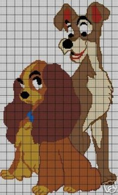 & The Tramp Full Figure Crochet Pattern Graph Crochet, Crochet Quilt, Counted Cross Stitch Patterns, Cross Stitch Embroidery, Stitch Cartoon, Crochet Disney, Cross Stitch Pillow, Lady And The Tramp, Afghan Crochet Patterns