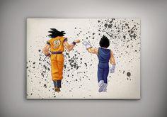 Goku Vegeta Dragon Ball Anime Manga Watercolor Print by EpicShoppe