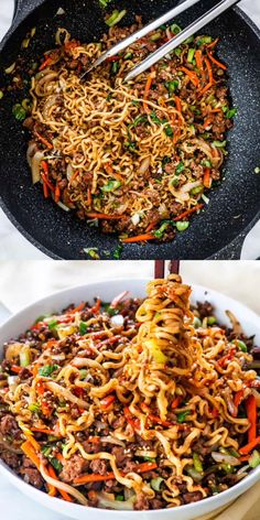 Hoisin Beef Noodles - This recipe is made with an easy sauce, tender ramen noodles, crunchy veggies, and lots of beef, all ready in 30 min. Lunch Recipes, Healthy Dinner Recipes, Soup Recipes, Vegetarian Recipes, Cooking Recipes, Veggie Pasta Recipes, Easy Asian Recipes, Chicken Recipes, Ethnic Recipes