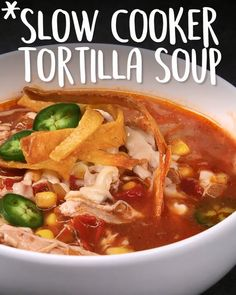 Tortilla chips > croutons Slow Coocker crockpot , easy, instant pot, recipe Soup and the slow cooker are natural combos, and this recipe for Tortilla Soup (Slow Cooker Tortilla Soup) doesn't disappoint. Slow Cooker Tortilla Soup, Slow Cooker Soup, Chicken Tortilla Soup Crockpot, Healthy Crockpot Recipes, Slow Cooker Recipes, Cooking Recipes, Easy Recipes, Good Soup Recipes, Crock Pot Soup Recipes