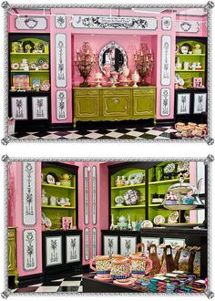 Antique buffet and table chandeliers in retail gift display at Sugarbaby's