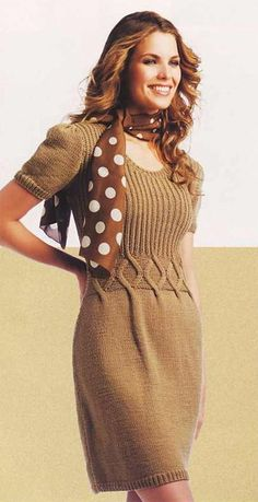 A very simple but cute casual knitted dress (pattern and scheme included).