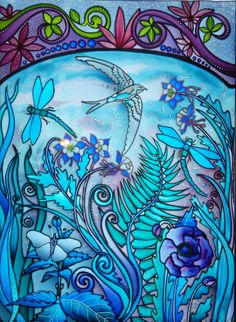 This original design hand painted glass panel is representing summer, One of the four Seasons designed for Chris and her new office windows. debsinledbury@live.co.uk