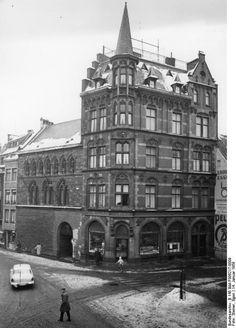App in die Geschichte  Aachen, Altes Haus am Fischmarkt  14.1.1959 Aachen Altes Haus am Fischmarkt