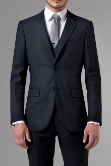 Essential Navy Three-Piece Suit | Indochino - $450, or $519 w/vest. Also in pinstripe or lighter blue.